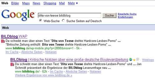 Suchergebnis Google für Dita Von Teese und Bildblog - nur die WAP-Variante taucht auf
