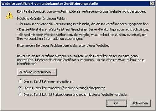 Webseite zertifiziert von unbekannter Zertifizierungsstelle