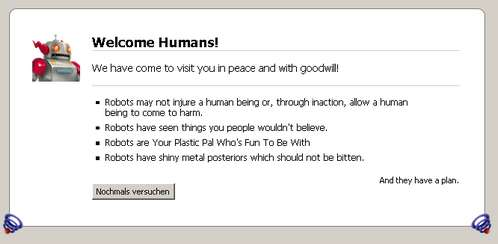 Firefox 3 Easter Egg about:robots Welcome Humans (c) mozilla.org