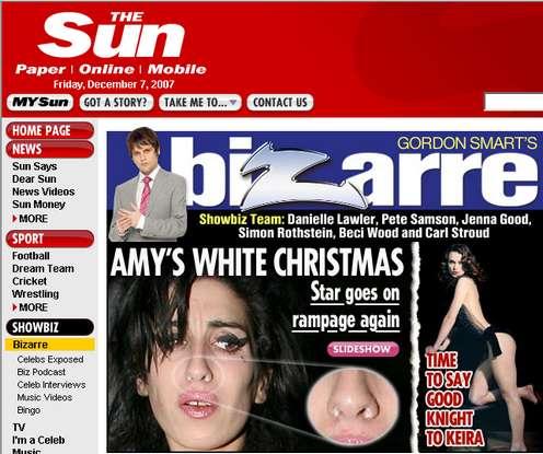 Amy Winehouse mit Koks in der Nase - Schnappschuss von thesun.co.uk (c) The Sun