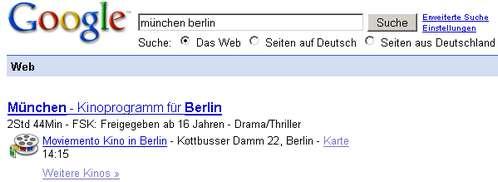Google-Bahnauskunft Münmchen - Berlin