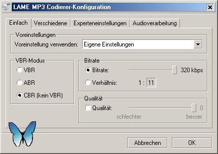 fre:ac to MP3 - Empfohlene Einstellung für LAME