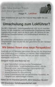 Anzeige im Käseblättchen: Umschulung zum Lokführer