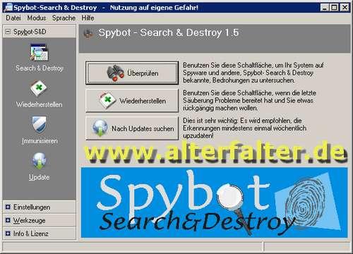 Spybot - Search & Destroy 1.5 - kostenloses Anti-Spyware-Programm in neuer Version - Alter Falter!