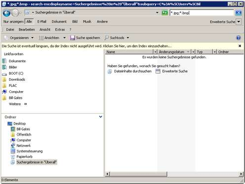 Die Vista-Suche nach Dateien und Ordnern - findet auf klassische Weise erst mal nix.