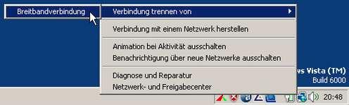 Verbindung trennen - mit Windows Vista ein überflüssiger Klick mehr