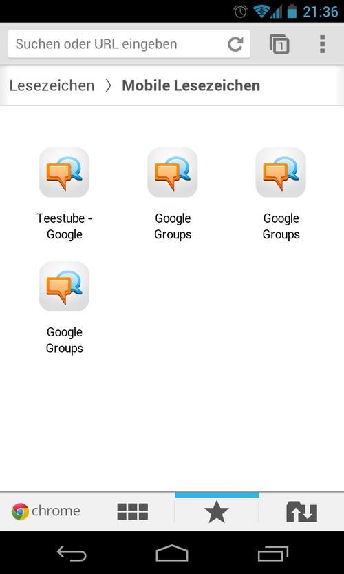 Wie lösche ich die mobilen Lesezeichen von Google Chrome auf meinem Nexus 4?