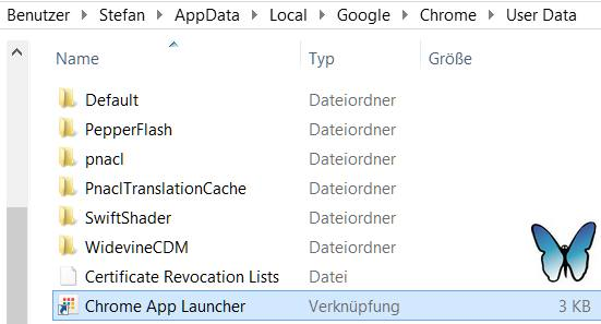Pfad zur Verknüpfung vom Chrome App Launcher: Benutzer > Benutzername > AppData > Local > Google > Chrome > User Data