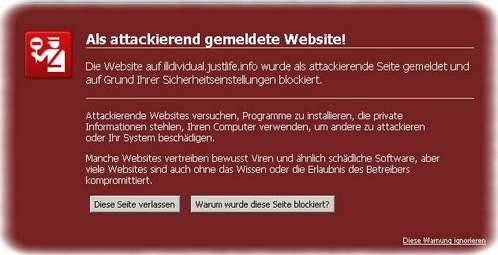 Firefox 3: Als attackierend gemeldete Website!