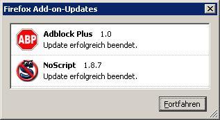 Firefox hat neue Add-on-Updates installiert. Fortfahren oder was?