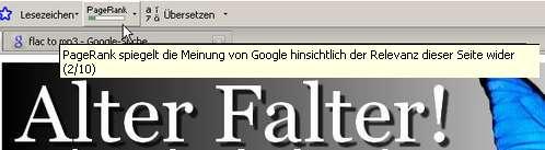 PageRank-Anzeige der Google-Toolbar