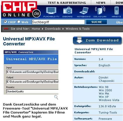 Vorsicht, zweifelhafter Download-Tipp von Chip.de! - Copyright Chip.de