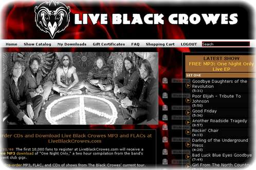 Black Crowes: One Night Only - als kostenloser MP3-Download bei LiveBlackCrowes.com - Copyright LiveBlackCrowes.com