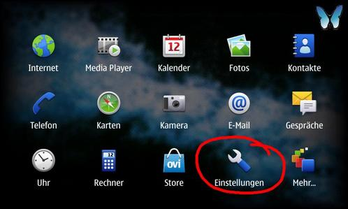 Nokia N900 Hauptmenü