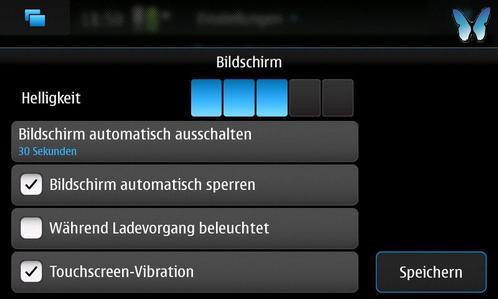 Nokia N900 Bildschirm-Menü