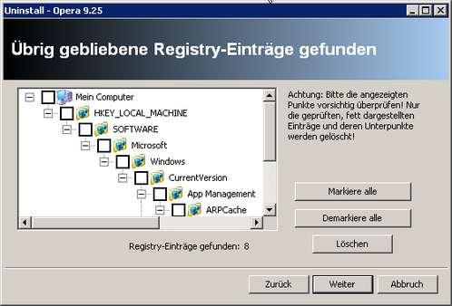 Revo Uninstaller - verwaiste Registry-Einträge nach Opera-Deinstallationsroutine