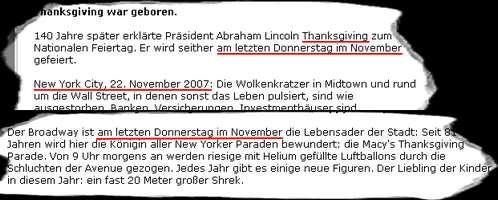 Thanksgiving findet am letzten Donnerstag im November statt. Dieses Jahr am 22.11.2007. Was weiß die Bildzeitung?