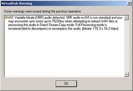 VirtualDub-Warnung: