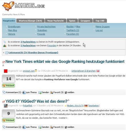 Alter Falter! Mein Artikel steht tatsächlich auf der Startseite von YiGG!
