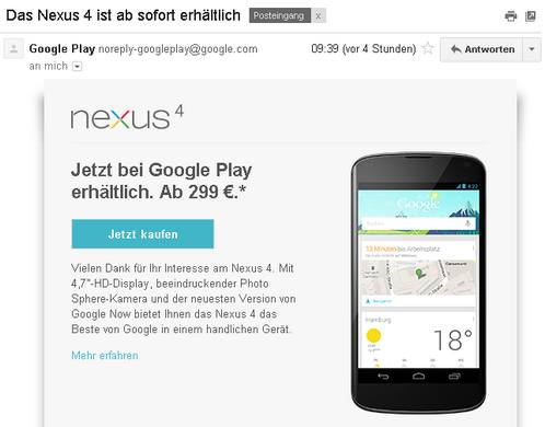 Nexus 4 ab sofort bei Google Play erhältlich
